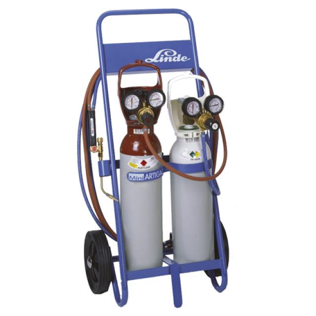 Chariot + Bouteille oxygène (B5-1 m³) + Bouteille Acétylène (B5- 0,7m³)